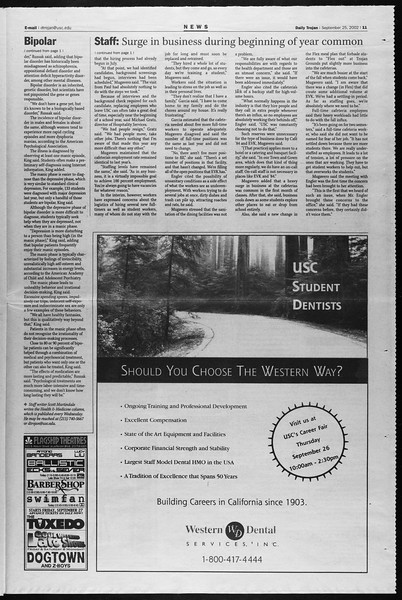 Daily Trojan, Vol. 147, No. 21, September 25, 2002