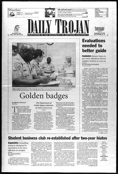 Daily Trojan, Vol. 138, No. 10, September 14, 1999