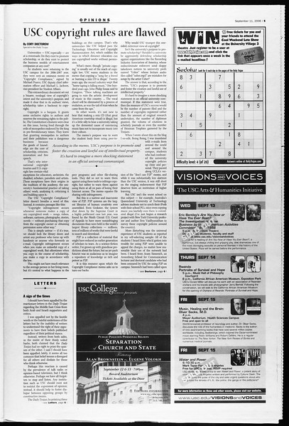 Daily Trojan, Vol. 159, No. 14, September 11, 2006