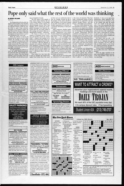 Daily Trojan, Vol. 159, No. 23, September 22, 2006