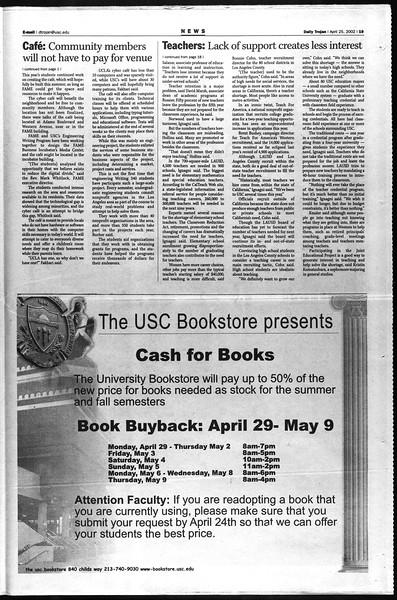 Daily Trojan, Vol. 145, No. 67, April 25, 2002