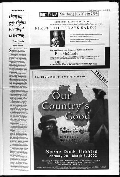 Daily Trojan, Vol. 145, No. 34, February 28, 2002