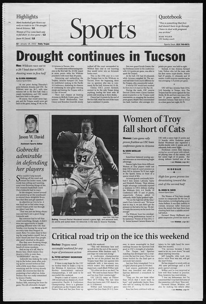 Daily Trojan, Vol. 145, No. 9, January 18, 2002