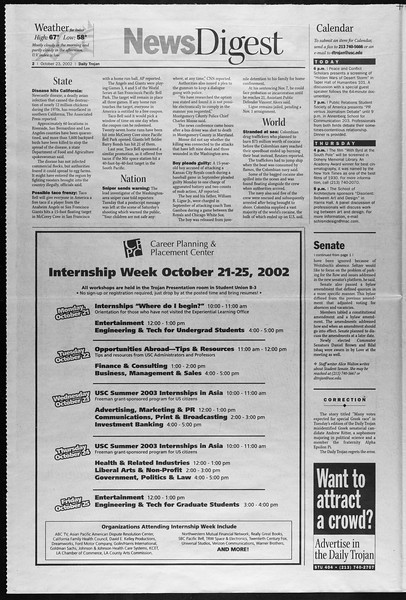 Daily Trojan, Vol. 147, No. 41, October 23, 2002