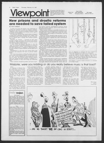 Daily Trojan, Vol. 103, No. 26, February 19, 1987