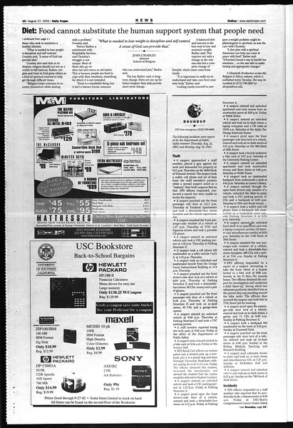Daily Trojan, Vol. 147, No. 2, August 27, 2002