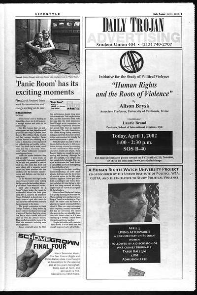 Daily Trojan, Vol. 145, No. 49, April 01, 2002