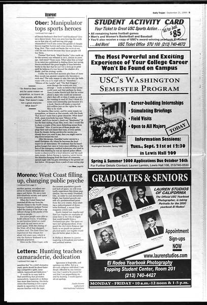 Daily Trojan, Vol. 138, No. 15, September 21, 1999