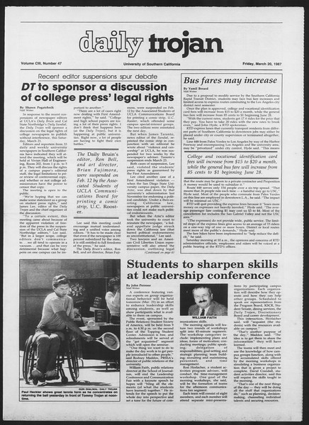 Daily Trojan, Vol. 103, No. 47, March 20, 1987