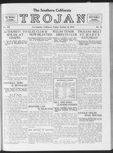 The Southern California Trojan, Vol. 7, No. 18, October 15, 1915