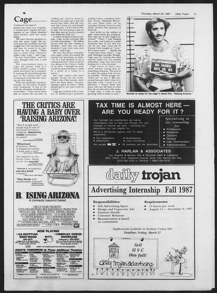 Daily Trojan, Vol. 103, No. 51, March 26, 1987
