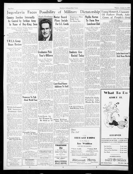 Daily Trojan, Vol. 26, No. 15, October 11, 1934