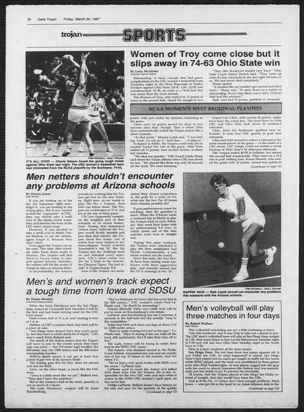 Daily Trojan, Vol. 103, No. 47, March 20, 1987