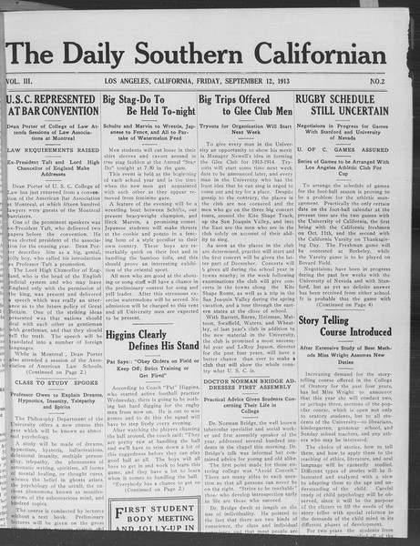 The Daily Southern Californian, Vol. 3, No. 2, September 12, 1913