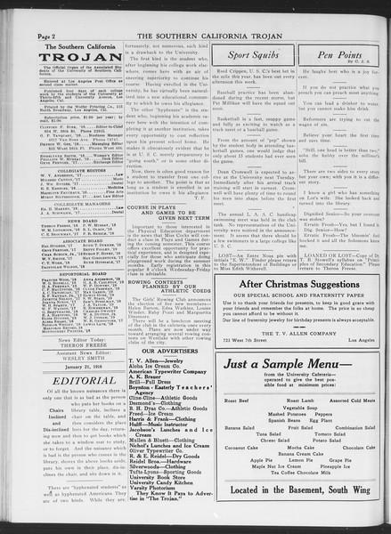 The Southern California Trojan, Vol. 7, No. 63, January 21, 1916