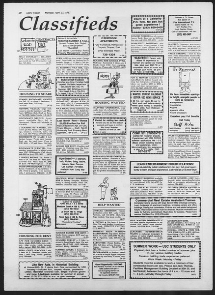 Daily Trojan, Vol. 103, No. 67, April 27, 1987
