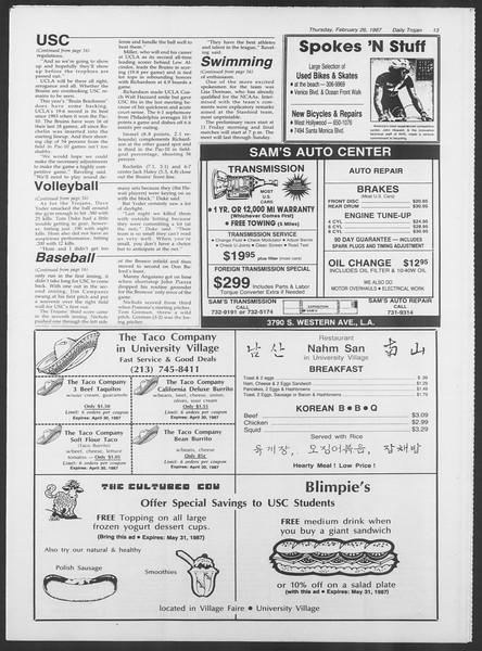 Daily Trojan, Vol. 103, No. 31, February 26, 1987