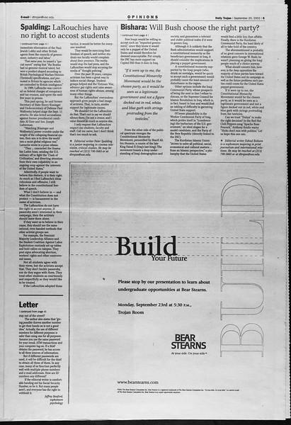 Daily Trojan, Vol. 147, No. 18, September 20, 2002