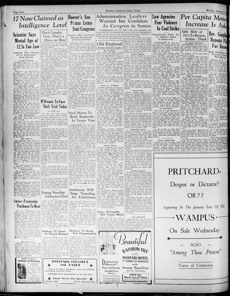 Daily Trojan, Vol. 25, No. 63, January 15, 1934