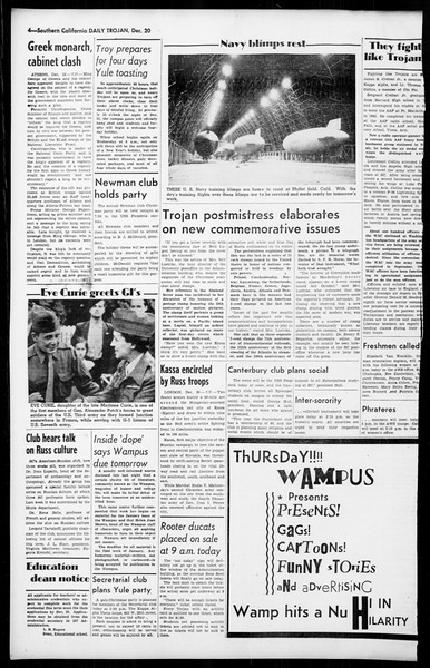 Daily Trojan, Vol. 36, No. 31, December 20, 1944