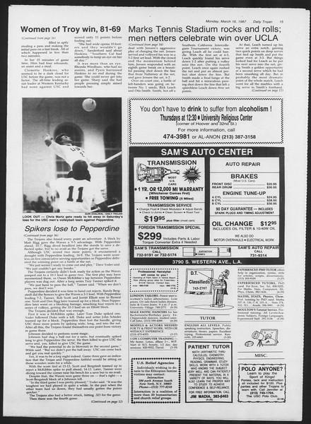 Daily Trojan, Vol. 103, No. 43, March 16, 1987