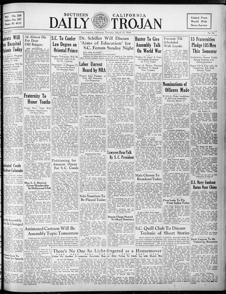 Daily Trojan, Vol. 25, No. 97, March 15, 1934