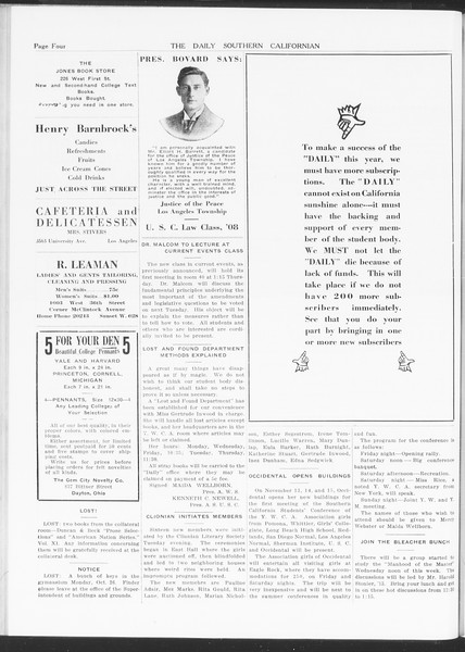 The Daily Southern Californian, Vol. 5, No. 26, October 29, 1914