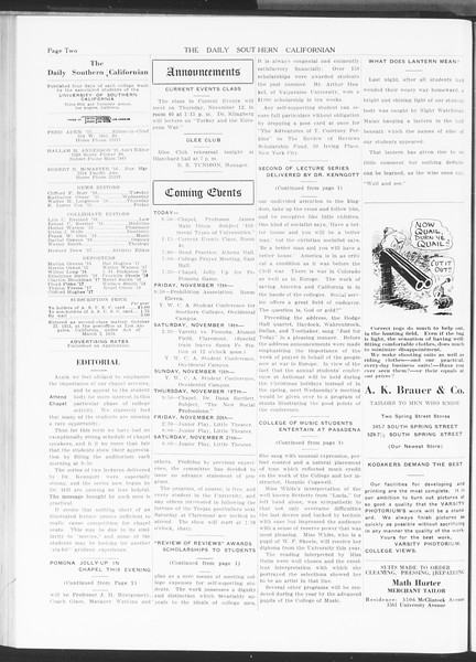The Daily Southern Californian, Vol. 5, No. 33, November 12, 1914