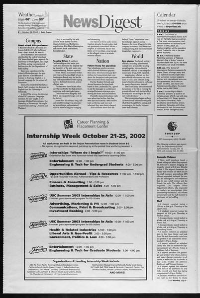 Daily Trojan, Vol. 147, No. 42, October 24, 2002