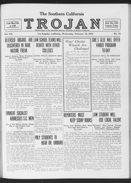 The Southern California Trojan, Vol. 7, No. 72, February 16, 1916