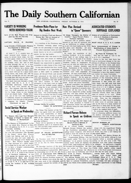 The Daily Southern Californian, Vol. 5, No. 23, October 23, 1914
