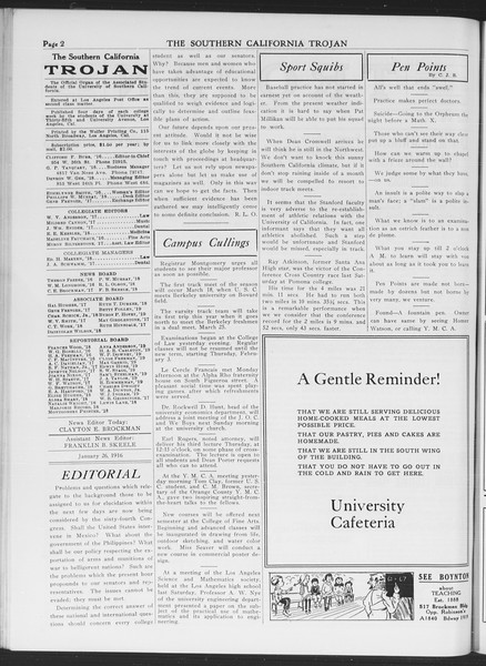 The Southern California Trojan, Vol. 7, No. 65, January 26, 1916