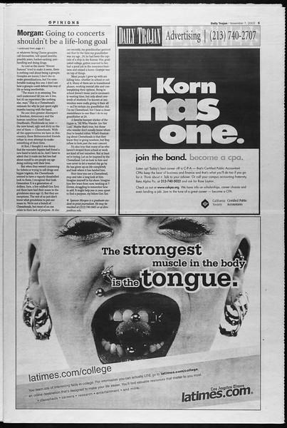 Daily Trojan, Vol. 147, No. 52, November 07, 2002