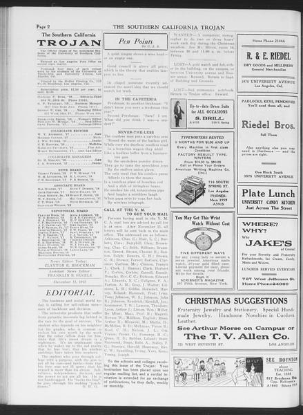 The Southern California Trojan, Vol. 7, No. 50, December 15, 1915