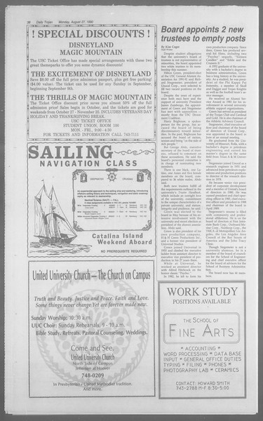 Daily Trojan, Vol. 113, No. 1, August 27, 1990