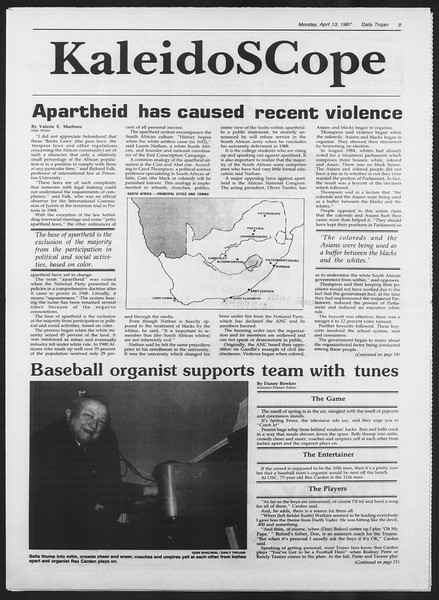 Daily Trojan, Vol. 103, No. 57, April 13, 1987