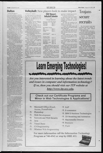 Daily Trojan, Vol. 147, No. 4, August 29, 2002