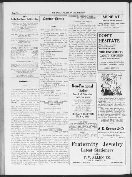 The Daily Southern Californian, Vol. 6, No. 22, April 30, 1915