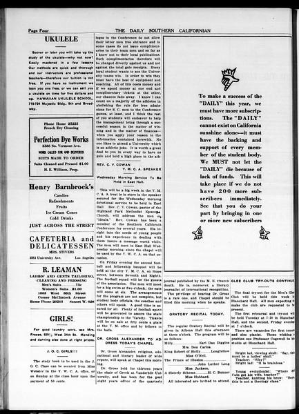 The Daily Southern Californian, Vol. 5, No. 16, October 13, 1914