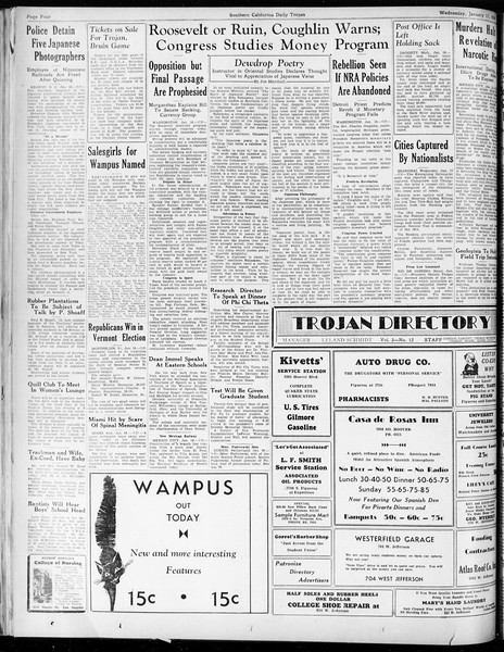 Daily Trojan, Vol. 25, No. 65, January 17, 1934