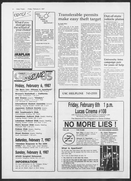 Daily Trojan, Vol. 103, No. 19, February 06, 1987