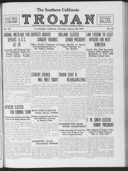 The Southern California Trojan, Vol. 7, No. 62, January 20, 1916