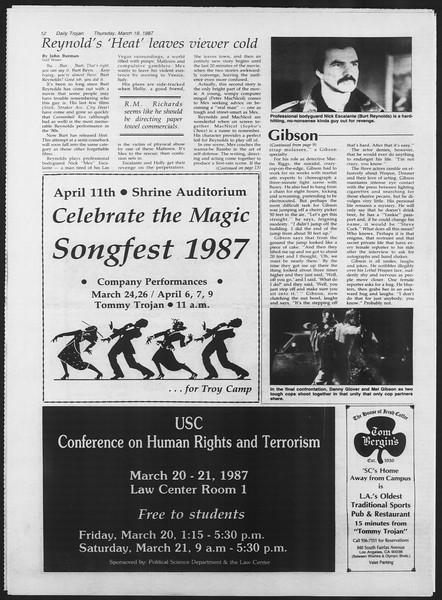 Daily Trojan, Vol. 103, No. 46, March 19, 1987