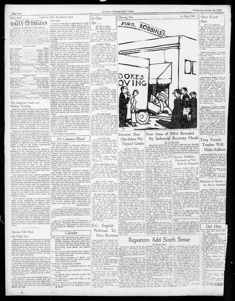 Daily Trojan, Vol. 26, No. 24, October 24, 1934