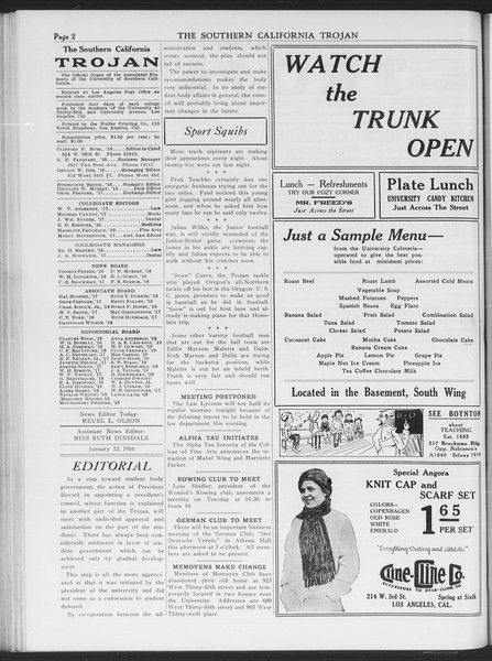 The Southern California Trojan, Vol. 7, No. 58, January 13, 1916
