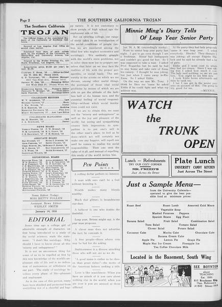 The Southern California Trojan, Vol. 7, No. 59, January 14, 1916