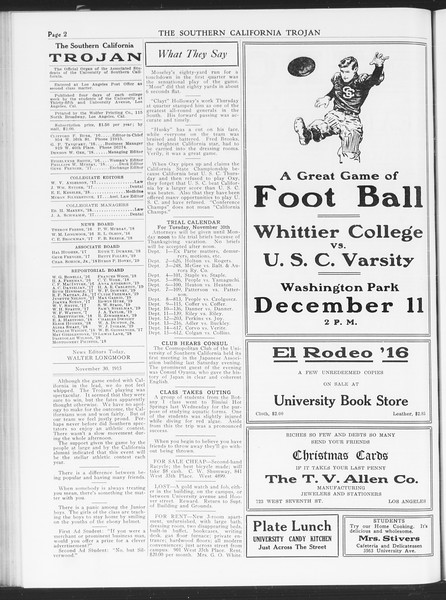 The Southern California Trojan, Vol. 7, No. 41, November 30, 1915