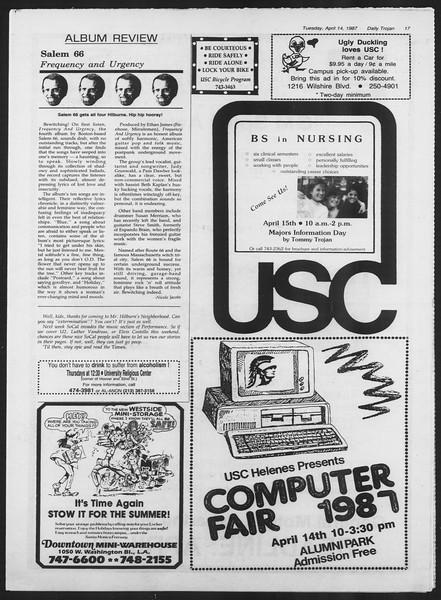 Daily Trojan, Vol. 103, No. 58, April 14, 1987