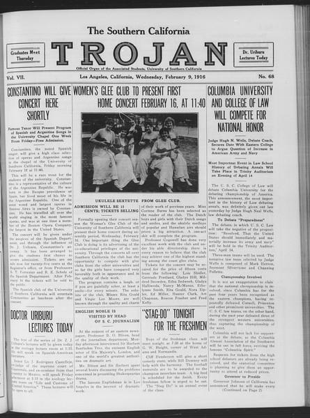 The Southern California Trojan, Vol. 7, No. 68, February 09, 1916