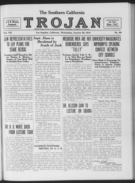 The Southern California Trojan, Vol. 7, No. 65, January 26, 1916